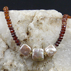 hessonite and pearl necklace