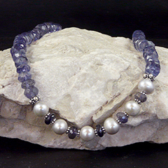 iolite and pearl necklace