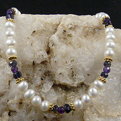 pearl iolite and amethyst necklace