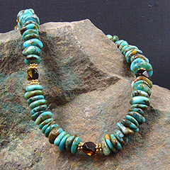 kingman turquoise and amber necklace