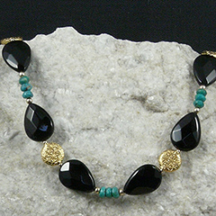 sleeping beauty turquoise and onyx necklace